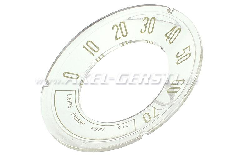 Zifferblatt f. Original-Tacho, Anzeige bis 70 mph (konkav)