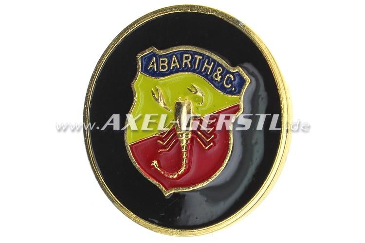 Abarth-Hupknopf-Button, Metall (Wappen/schwarzer Untergrund)