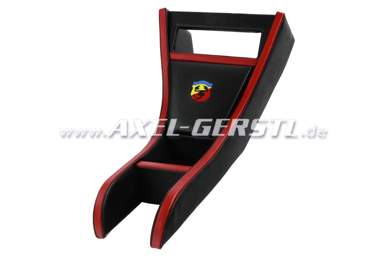 Radio housing ABARTH black & red imitation leather cover
