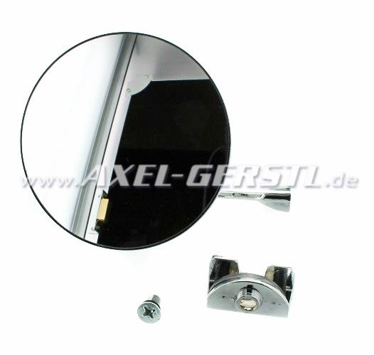 Ext. mirror f. door rabbet mounting chrome, round, d=105 mm