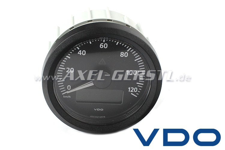 VDO speedometer, 85 mm, black dial, til 120 km/h