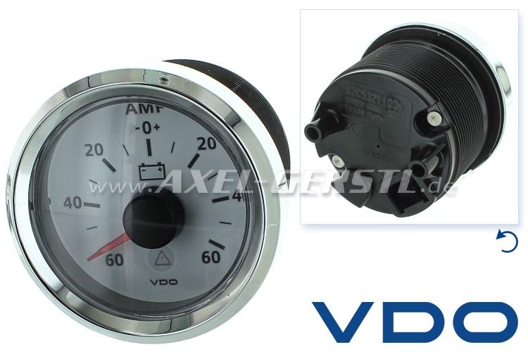 Amperometro VDO, 40 mm, quadrante bianco