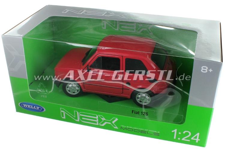 Modello dauto Welly Fiat 126, 1:24, rosso
