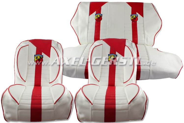 Seat covers red/white Abarth, artificial leather, fr. & ba