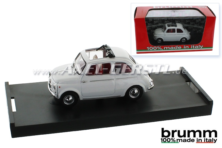 Model car Brumm Fiat 500 D, 1:43, white / open