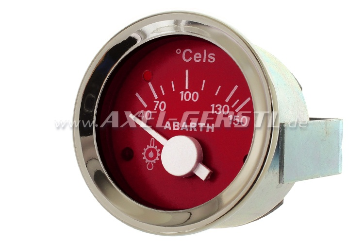 Abarth oil temperature gauge, 52mm, red dial