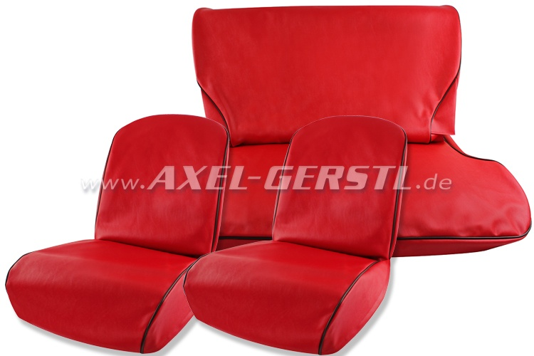Seat covers, red, artificial leather, front & back