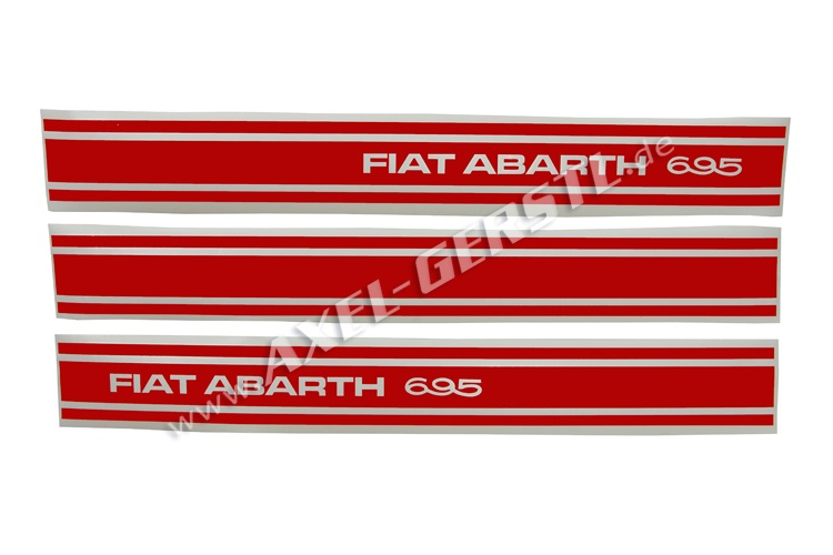 Set of 3 stickers Abarth 695, sideways, red