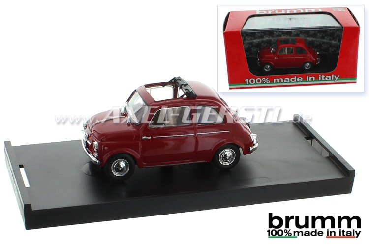 Modellauto Brumm Fiat 500 D, 1:43, dunkelrot / offen