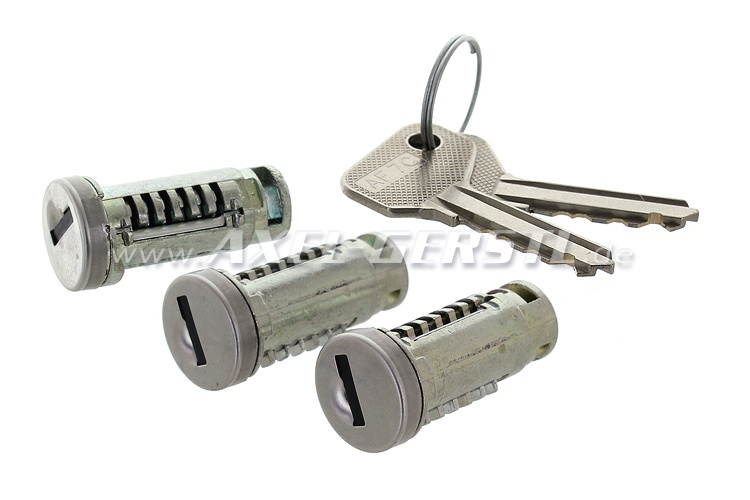 Set of closing cylinders, 2 keys for door locks/engine cover
