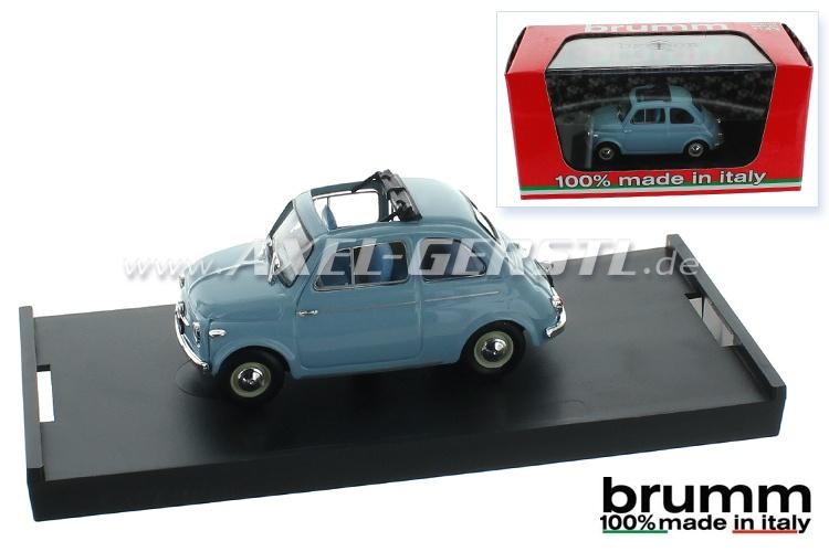 Modellauto Brumm Fiat 500 N, 1:43, himmelblau / offen