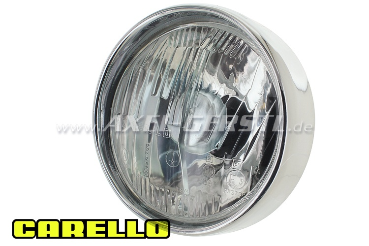 Headlamp w. chrome ring, Ital. version w/o parking light
