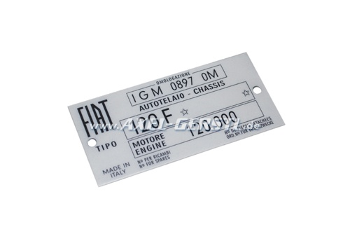 Targhetta identificativa FIAT 120 F (mot. 120.000) in allu