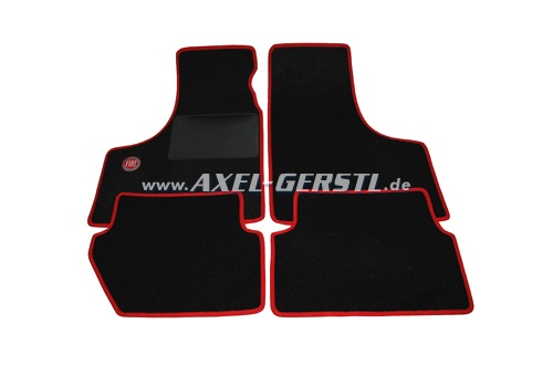 Set of foot mats FIAT (red/Black) with emblem, small