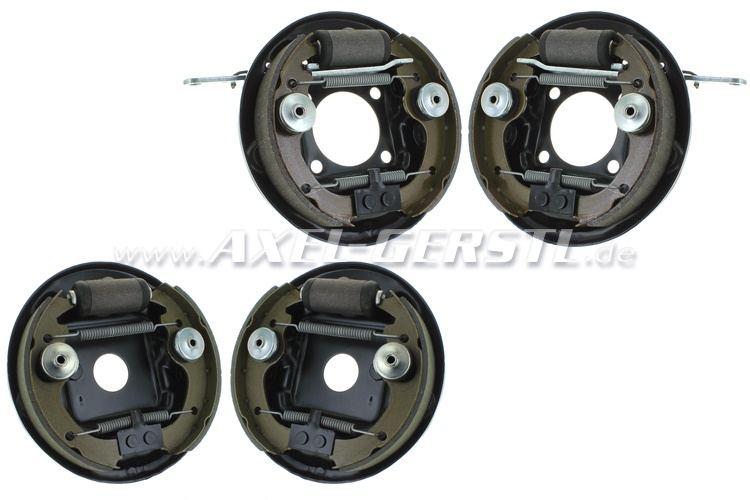 Brake backing plate complete set, front & back (4 pieces)