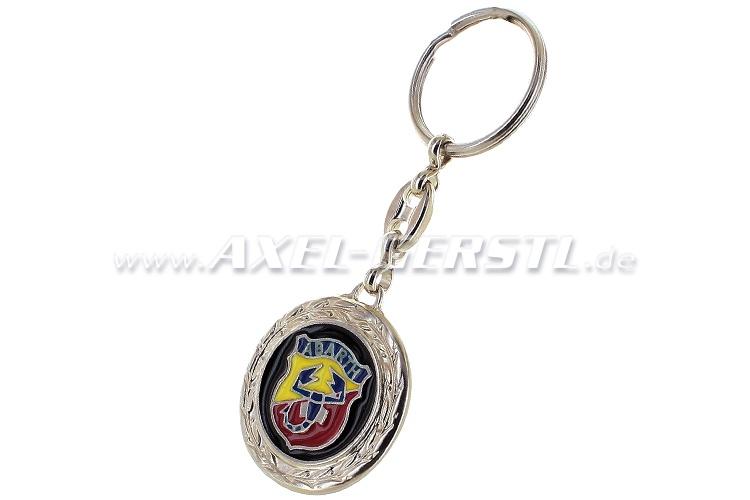 Abarth key fob, round with laurels, metal