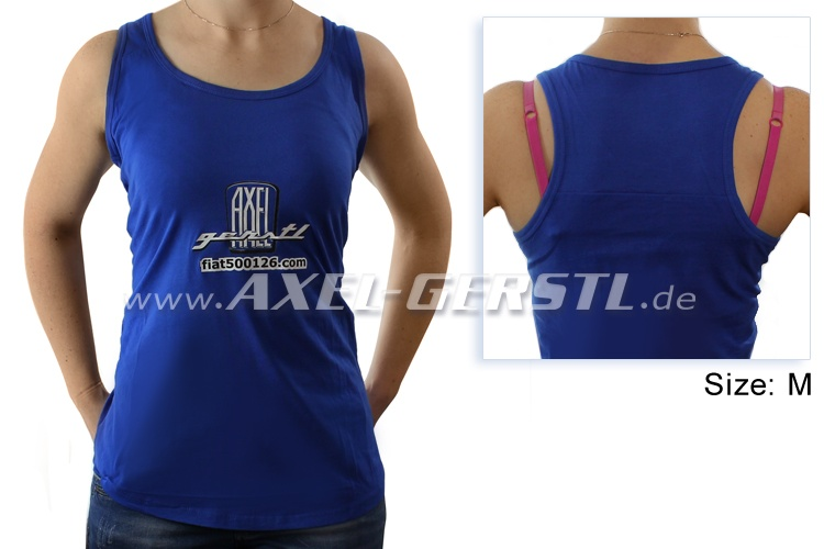 Female-shirt Axel Gerstl Classic Logo, sleeveless/blue