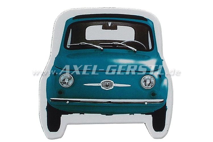 Magnet Die-cut, Motiv Fiat 500 Front, blau