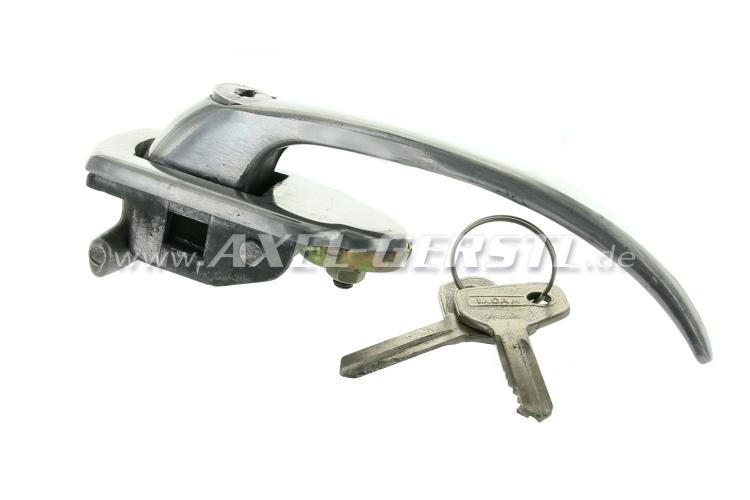Maniglia e serratura in alluminio, sx completo con chiave