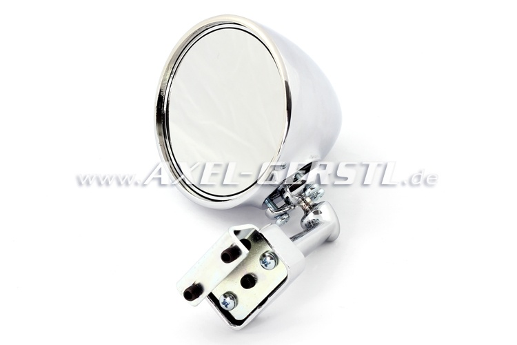 Ext. mirror f. door rabbet mounting, chrome, round
