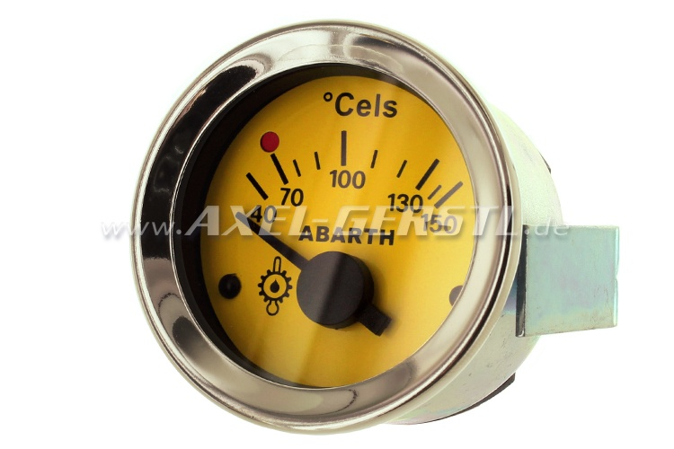 Abarth oil temperature gauge, 52mm, yellow dial