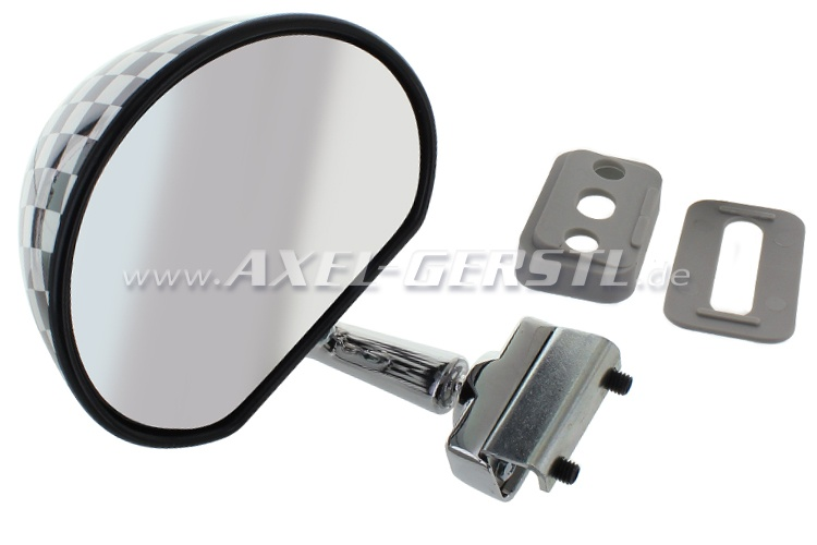 Wing mirror, door rabbet mounting, black/white checked