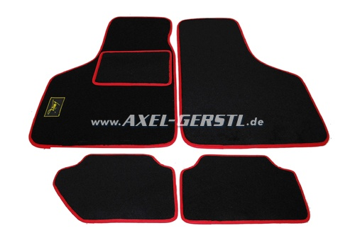 Set of foot mats, black with red rim, 4 pieces action-stop