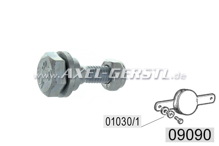 Screw for gearshift linkage snubber with nut and sleeve