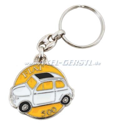 Schlüsselanhänger Fiat 500 rund (wß. auf  gelb), Metall
