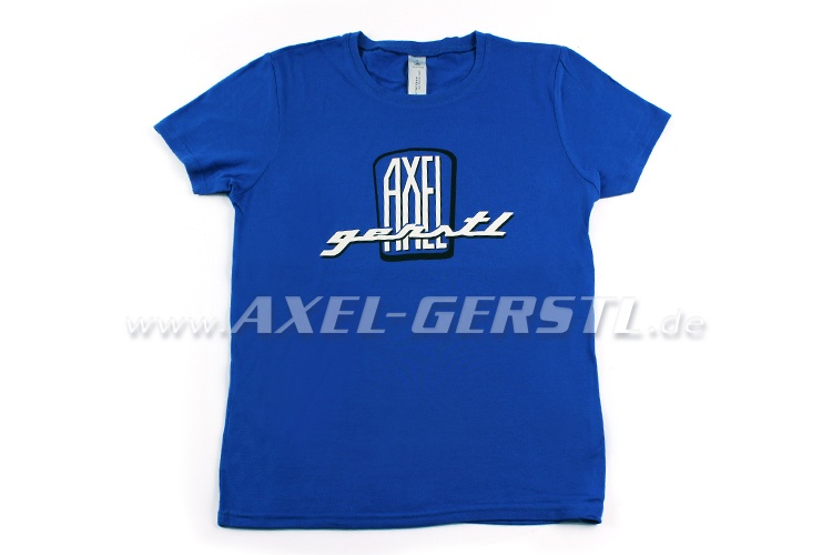 Female-T-shirt Axel Gerstl Classic Logo(blue shirt) size M