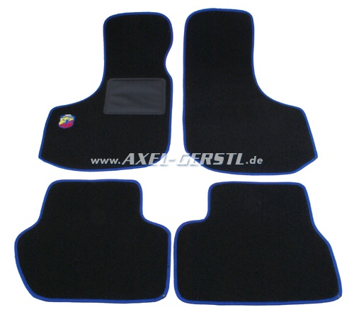 Set of foot mats (black/blue) with small Abarth logo