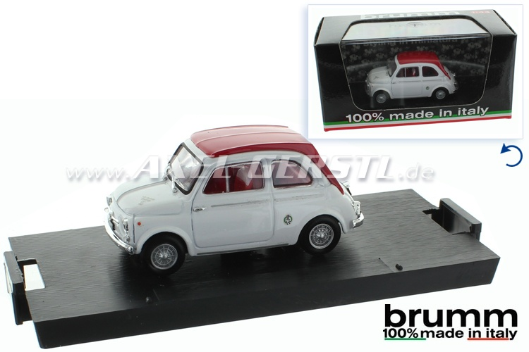 Model car Brumm Fiat 500 D ABARTH 595 SS, 1:43, white/red