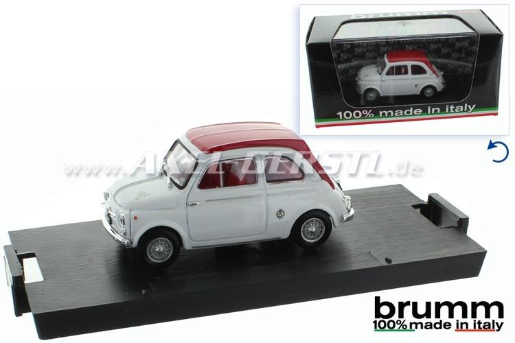 Modellauto Brumm Fiat 500 D ABARTH 595 SS, 1:43, weiß/rot