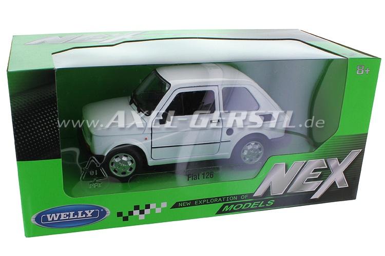 Modello dauto Welly Fiat 126, 1:24, bianco