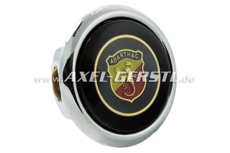 Abarth-Hupknopf incl. Taster & Button (Wappen auf schwarz)