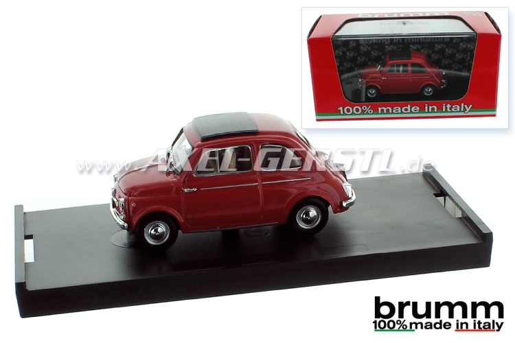Model car Brumm Fiat 500 D, 1:43, dark red / closed