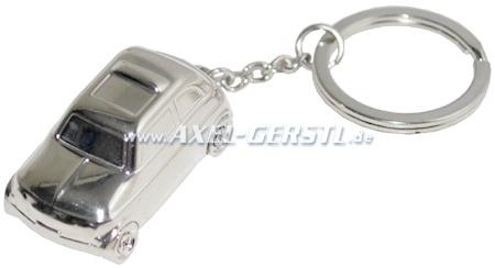 Schlüsselanhänger Fiat 500, silberfarbig, 1:87, rollfähig
