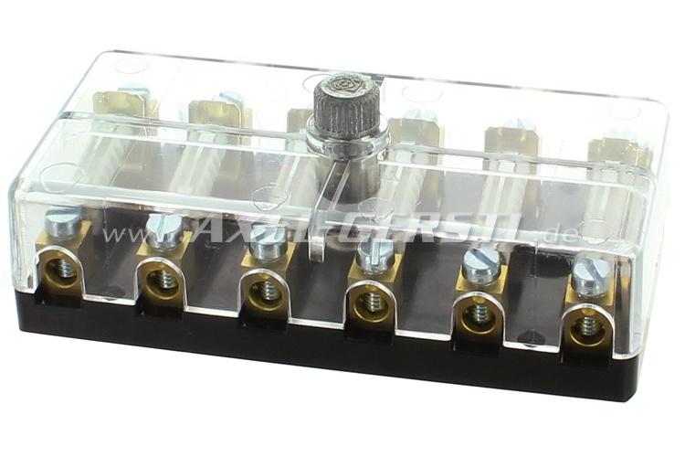 Boîte à fusible, transparent, fermeture à vis, 6 fusibles