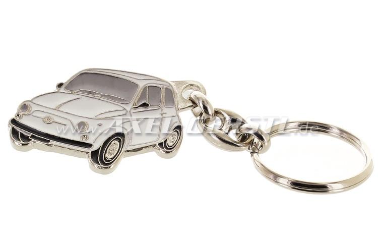 Key fob Fiat 500, metal, white