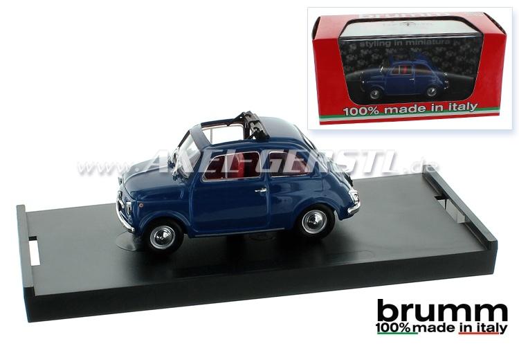 Modellauto Brumm Fiat 500 F, 1:43, orientblau / offen