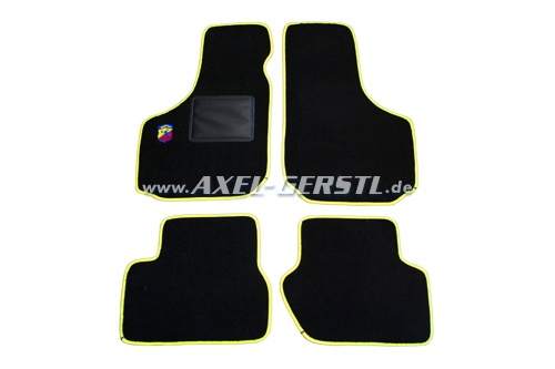 Set of foot mats (black/yellow) with small Abarth logo