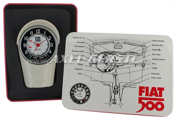 Réveil boîte du tachymètre Fiat 500 (8x12,5x6cm), blanc