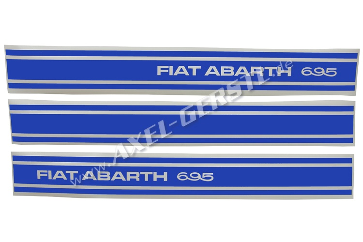 Set of 3 stickers Abarth 695, sideways, blue