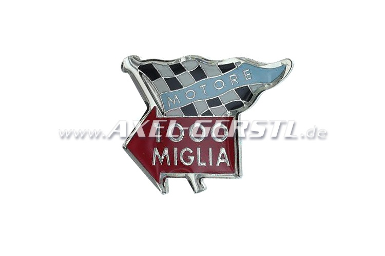 Mille Miglia finishing flag, metal badge, adhesive