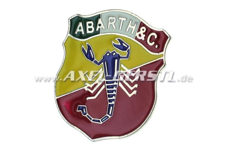 Blason Abarth  tricolore 60 x 70 mm, vissable