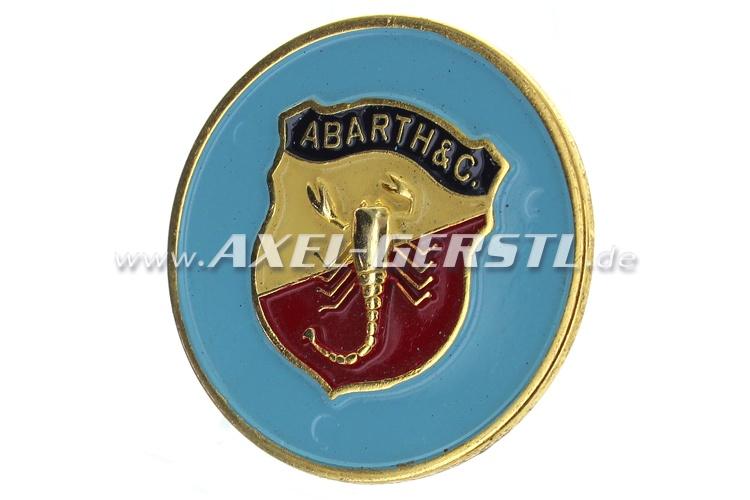 Abarth-Hupknopf-Button, Metall (Wappen/blauer Untergrund)