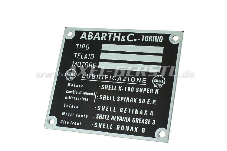 Targhetta identificativa ABARTH & C. in alluminio