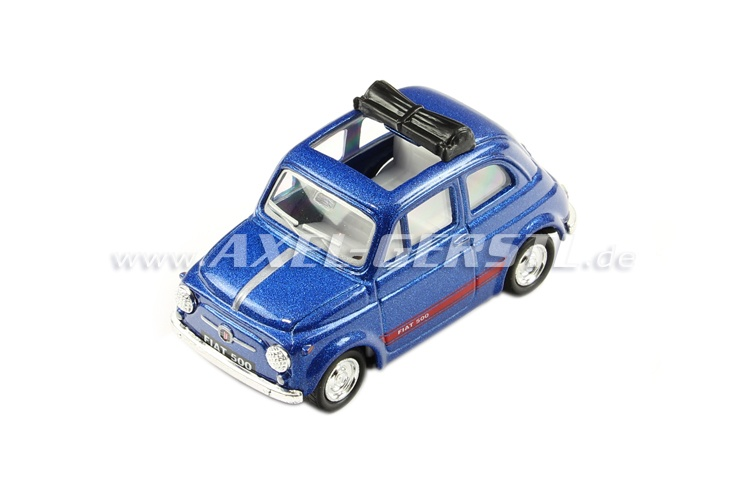 Modello KINTOY Fiat 500, blu scuro 1:48, in metallo