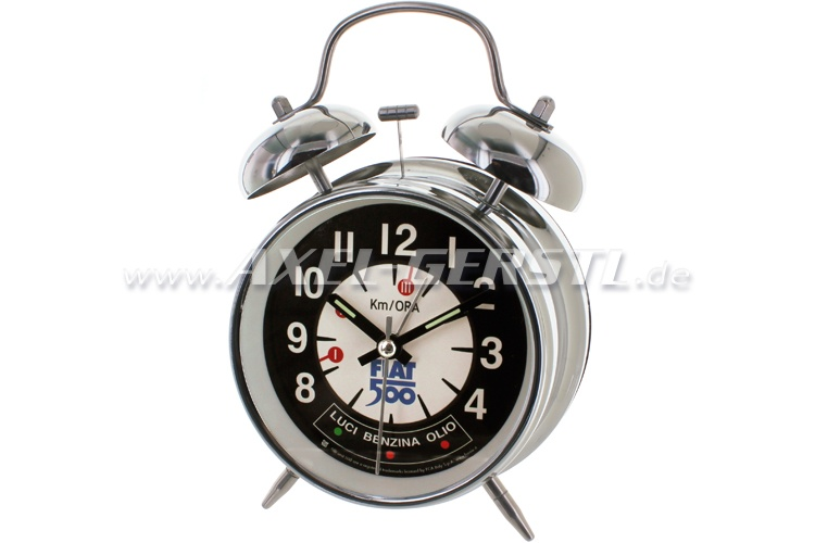 Retro alarm clock Fiat 500, black