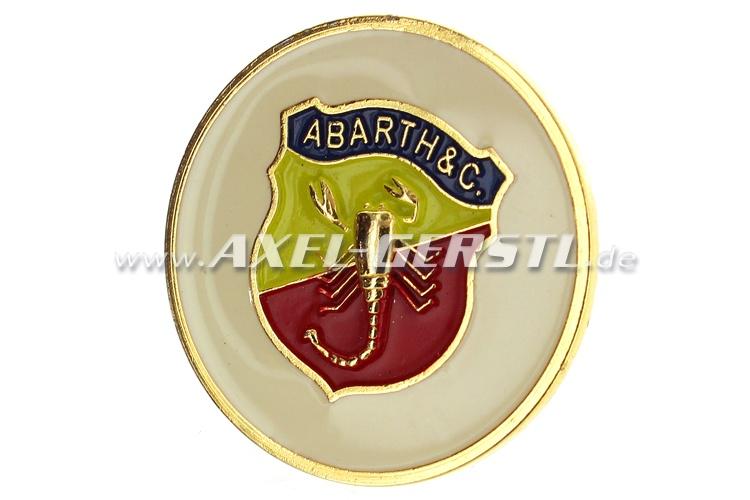 Abarth-Hupknopf-Button, Metall (Wappen/weißer Untergrund)
